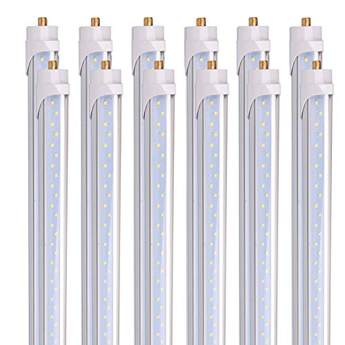 Barrina 8 Foot LED Bulbs, 44W 5500lm 6500K, Super Bright, T8 T10 T12 LED Tube Lights, FA8 Single Pin LED Lights , Clear Cover, 8 Foot LED Bulbs to Replace Fluorescent Light Bulbs (Pack of 12)