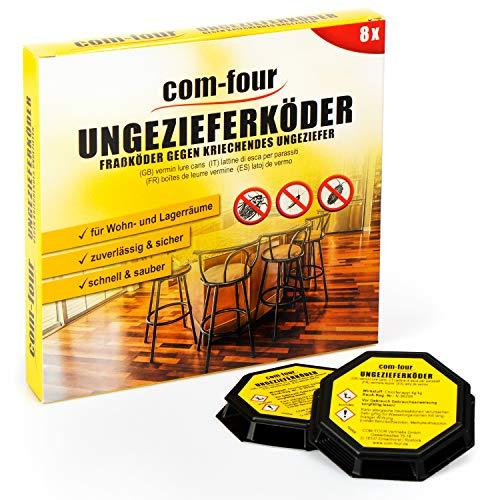 com-four® 8X Ungeziefer Köder-Falle, anwendungsfertige Köder-Dosen zur zuverlässigen Bekämpfung von Ungeziefer wie Schaben, Silberfischchen und Kellerasseln