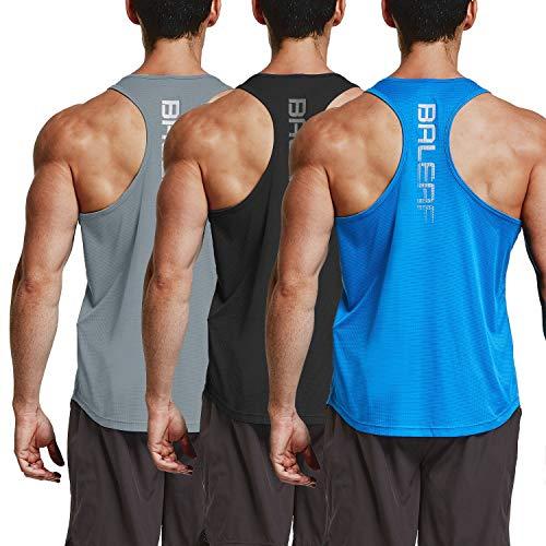 BALEAF Men's Workout Muscle Tank Top Y-Back Sleeveless Bodybuilding T-Shirts 3 Pack Black/Gray/Blue Size L