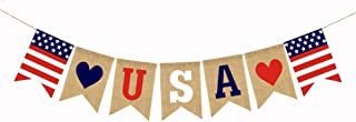CheeseandU 1PC USA Burlap Banner 5th of July Decorations American Independence Day Celebration Patriotic Wall Hanging Decoration Red White and Blue Bunting USA Flag Theme Party Supplies
