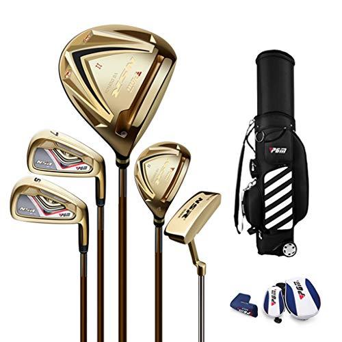 WYSTAO 5 Palos De Golf con Bolsa De Transporte Hombre Equipo De Golf, Niños Driver De Titanio (Color : Gold)