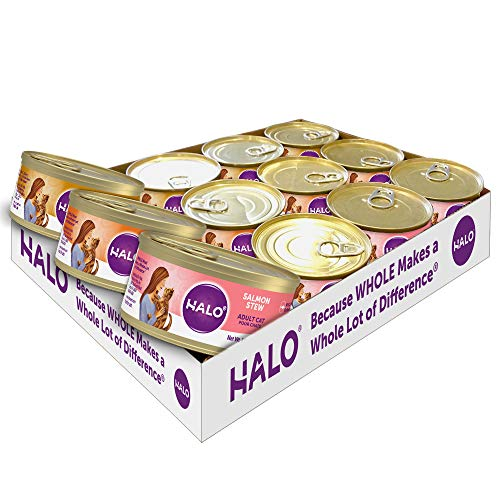 halo wet kitten foods Halo Wet Cat Food, Grain Free Cat Food, Adult, Variety Pack 5.5oz Can (Pack of 12)