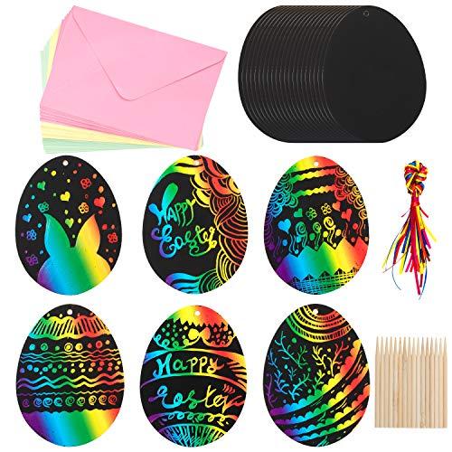 Whaline 150pcs Easter Egg Scratch Art Kit in Tre Colori per Bambini Pasqua Egg Scratch Artigianato per Fai da Te