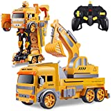 Remote Control Car,Transform Robot RC Car for Kids,Excavator Robot with One-Button Deformation, Engineering Vehicle,Digger Toys with Sound and Lights,Gift Toy for 6 7 8 9 10 11 12 Year Old Boys Girls