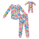 Dollie & Me Girls' Apparel Snug Fit Sleepwear Set and Matching Doll Outfit in, Multicolor, Size 6