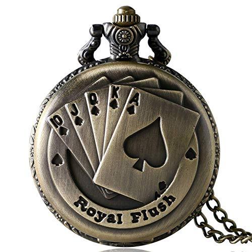 J-Love Relojes Bolsillo Bronce Antiguo Royal Flush Poker Cards Retro Fob Clock para Hombre Mujer Collar Cadena Regalos cumpleaños