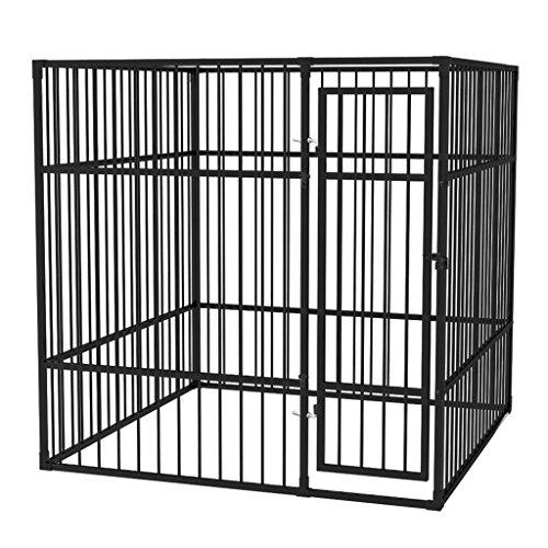 Vislone Perrera Jaula de Exterior para Perros Uso Jugar Ejercitarse Entrenar Sistema de Cierre con Cerradura Acero Negro 2x2m
