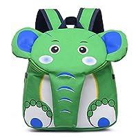 BJRHFN 幼稚園の子供の漫画の袋2-5歳のバックパックのショルダーバッグの男性と女性のかわいいゾウの親子ショルダーバッグのプレゼントは、子供たちに与えられました (Color : Green)