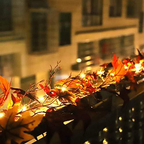 Festival de guirnaldas de Halloween, Navidad Guirnalda de hojas de arce artificial con luz de caída Guirnalda de enredaderas colgantes para interior al aire libre Puerta de boda Chimenea Cena de acció