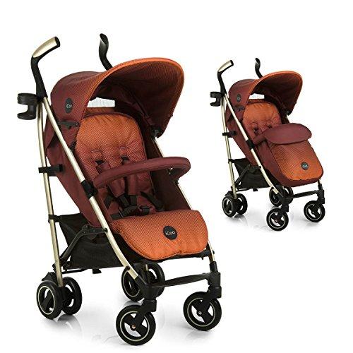iCOO Pace hochwertiger Buggy bis 25 kg mit Liegefunktion ab Geburt, flach zusammenklappbar, leicht - aus Aluminium, Getränkehalter, großer Korb - Rot