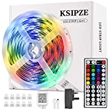LED Strip Lights, Ksipze 5m RGB LED Light Strip with Remote Colour Changing SMD 5050 LED Room Lights for TV Kitchen Home Party Christmas Decoration, Bright LEDs, Strong Adhesive (5M)