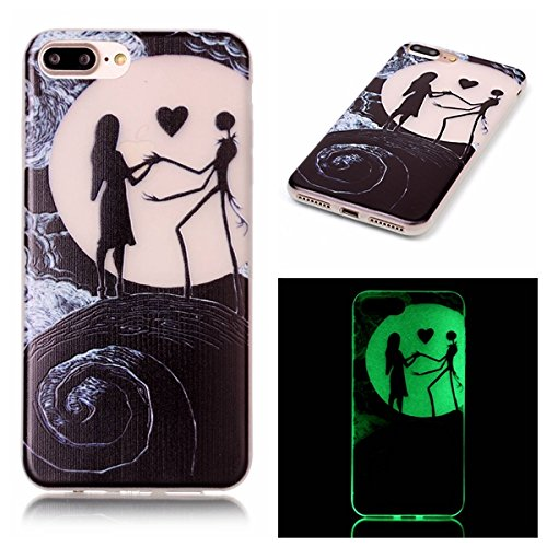 new style dfebc ad1fb iPhone 7 Plus Case, Luminous Noctilucent Glow in the Dark Case Matching  Design Protective Phone Back Cover TPU Shell Case for iPhone 7 Plus (2016)  ...