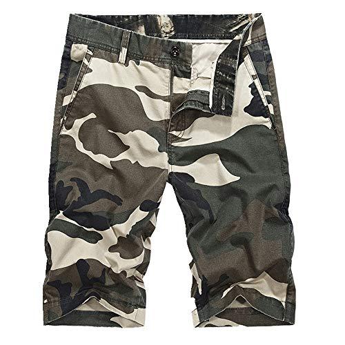 U/A Herren-Arbeitshose mit mittlerer Taille, Camouflage, gerade, Arbeitskleidung Gr. 36-41, khaki