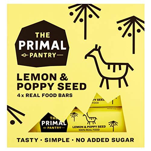 The Primal Pantry - 48 x 30g - Köstlicher Fruchtriegel - Nussriegel - ohne Zuckerzusatz, vegan, laktosefrei, weizenfrei und glutenfrei 48x30g (Zitrone u. Mohn)