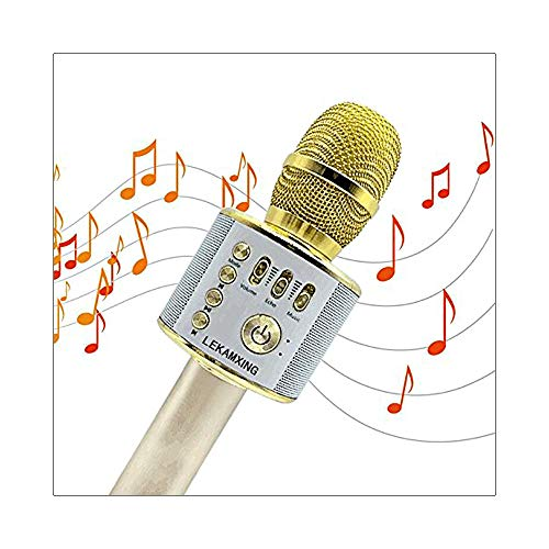 aoory Micrófono Inalámbrico de Bluetooth Karaoke Player Micrófono Color Gold para KTV Karaoke Player Compatible con PC/iPhone/Android/Smartphone