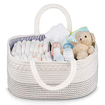 Baby Basket ? Jeneric Design?s Woven Rope Portable Light Weight White Nursery Caddy Basket with Handles for Storage and Organization of Diapers, Toys, Baby Laundry Clothes, Towels, Blankets