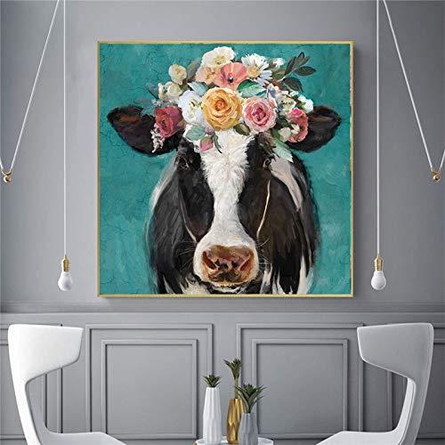 wZUN Lienzo Animal Pintura Mural decoración de la habitación de los niños Lindos Vaca Pintura al óleo decoración Moderna Lienzo Impreso Arte 50x50 cm