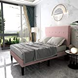 Upholstered Platform Bed Frame Queen Size with Headboard and Footboard/Mattress Foundation/Metal Slat Support/No Box Spring Needed/Easy Assembly,Pink