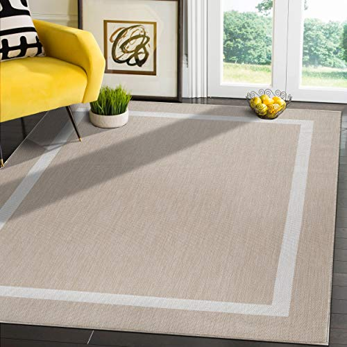 Camilson Outdoor Rug - Modern Area Rugs for Indoor and Outdoor patios, Kitchen and Hallway mats - Washable Outside Carpet (5x7, Bordered - Beige / White)