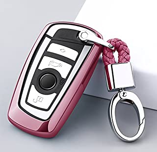 ontto Keycase Premium Soft TPU 360 Degree Full Protection Remote Control Key Shell Key Case Key Rings Cover for BMW 1 3 4 5 6 7 Series and Compatible with BMW X3 X4 M2 M3 Keyless (Pink)