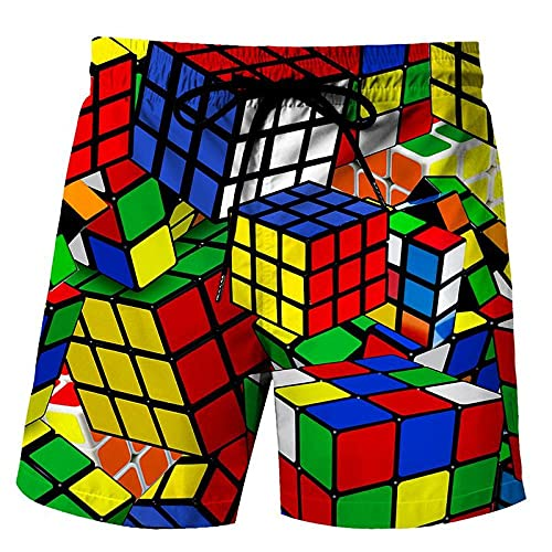 LYWZX Bañador Hombre Pantalones Cortos De Natación para Hombre Tronco De Natación para Hombre 3D Impresión Cubo Gráfico Rubik Suelto Quick Drying Summer Beach Shorts Surfing Trunks Beach Trunk 5XL