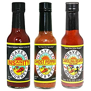 Dave s Gourmet Insanity Ghost Pepper and Reaper Variety Hot Sauce Set 5 Ounce Bottles  Pack of 3