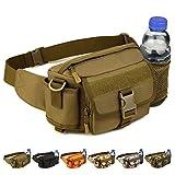Taktische Umhängetasche, kann als Hüfttasche verwendet, mit Flaschenhalter - Outdoor Sporttasche - Schwarz