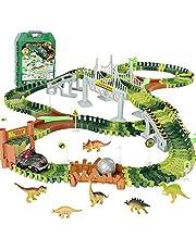 Circuito Pista Coches de Dinosaurios Juguetes-Pistas de Circuito Coches Cumpleaños Cars Juguetes Regalos Para Niños 3 4 5 6 Años,Pista Circuito Coches con 6 Dinosaurios 1 Dinosaurio Coche(216 Piezas)