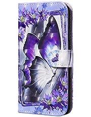 CRABOT Compatible con la Funda Samsung GalaxyA51,Funda Abatible,Resistente a Caídas,Patrón de Animales en 3D,Funda de Piel Sintética con Soporte+1*Srceen Gratis (Mariposa Morada)