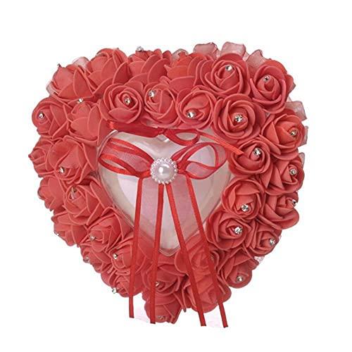 WDING Caja de anillo de boda de color rosa caja de anillo de boda almohada en forma de corazón anillo de almacenamiento de joyas para mujeres playa boda fiesta propuesta regalo