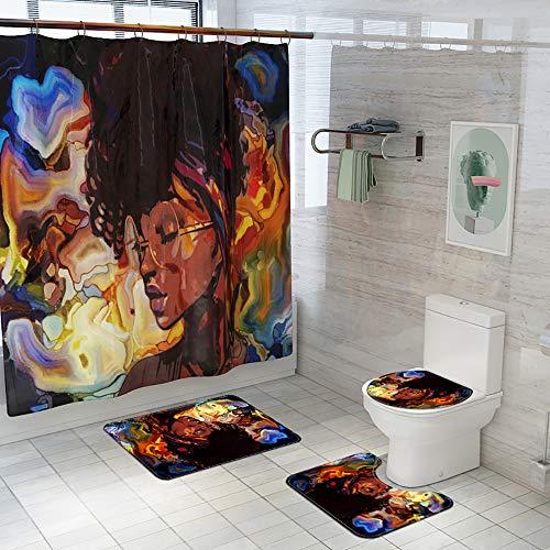 Amemny - Juego de 4 cortinas de ducha con alfombra antideslizante, asiento de inodoro, alfombrilla de baño y 12 ganchos, cortina de ducha impermeable duradera