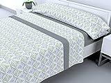 Cabello Textil Hogar - Juego de sbanas trmicas de Pirineo - 3 Piezas - 110 Gr/m2 - Mod. Leilan (Gris, 90_x_190/200 cm)