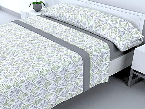 Cabello Textil Hogar - Juego de sábanas térmicas de Pirineo - 3 Piezas - 110 Gr/m2 - Mod. Leilan (Gris, 135_x_190/200 cm)