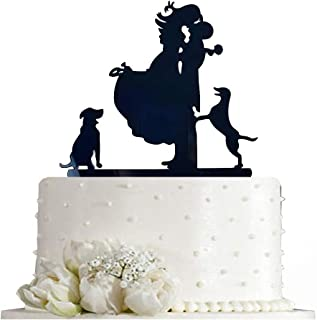 Kissing Bride and Groom with Dog Silhouette Wedding Cake Topper Decoration