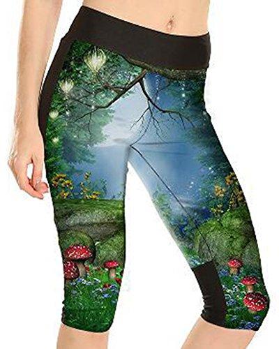 Sister Amy Women's 3D Pattern Print Workout Running Capri Pants Crop Leggings Lotus Night US XL