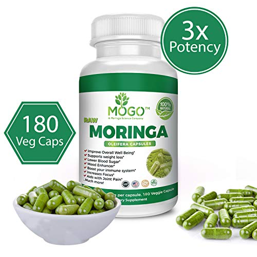 180 Organic Moringa Leaf Powder Capsules - Max 2100mg Per Serving.Immune and Energy Booster,Multivitamin,Boost Metabolism,Natural Weight Loss,Antioxidant Rich Superfood Supplement-MOGO™
