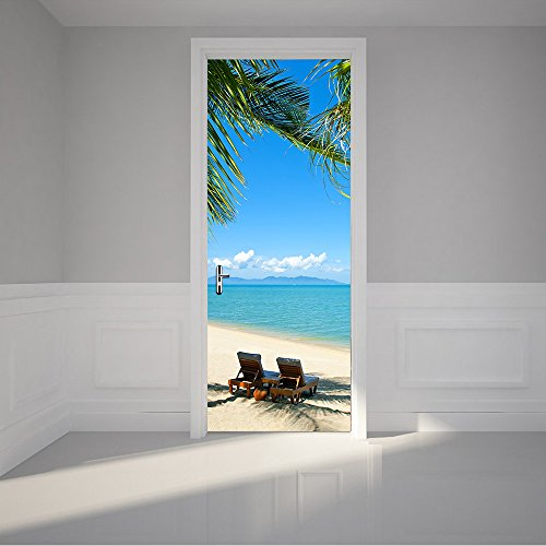 Alwayspon Modern Art Beach 3D Door Sticker, Peel and Stick Vinyl Door Mural Mural Decals for Home Decor, 30.3x78.7(77x200cm), 2 Pcs Set