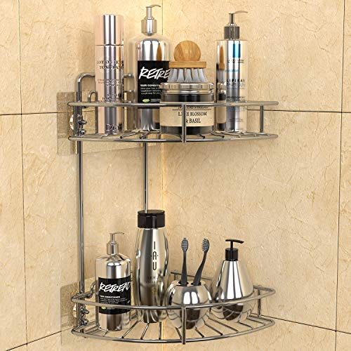 GeekDigg 2 Tier Shower Caddy, Adhesive Corner Bathroom Shelf Storage, Stainless Steel Wall Mounted Organizer with Removable Basket for Kitchen, Dorm, and Toilet - No Drilling