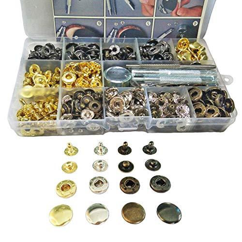 Kimlontonレザークラフト バネ ホック打ち具 真鍮 カシメ スナップ ボタン 12mm シルバー/ブロンズ/黒/ゴールド4色 140組セット (2.5mm穴あけポンチ/633打ち棒/打ち台/収納ケース)付き