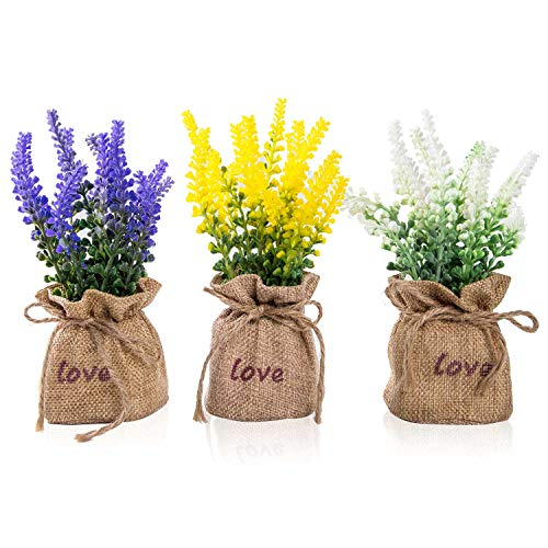 TFORESTER Mini Artificial Plants Plastic Lavender for Farmhouse Living Room Office Desk Shelf Home Decor– Set of 3