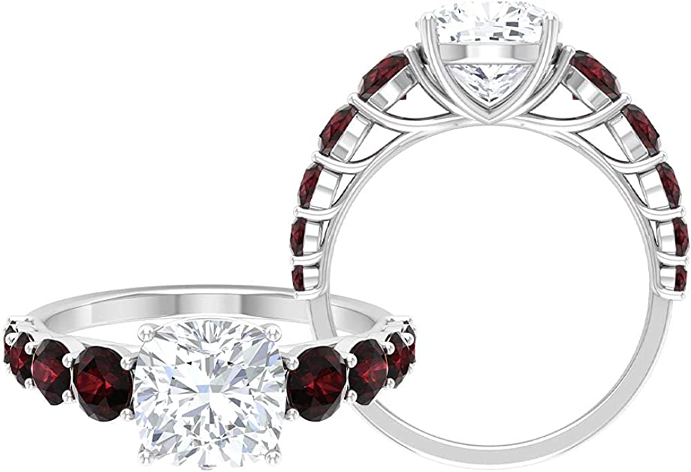 3.50 CT Cushion Cut Moissanite Solitaire and Garnet Side Stone Ring,14K White Gold,Moissanite,Size:US 5.00