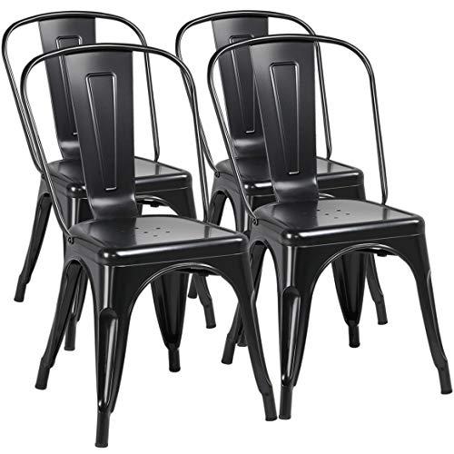 Yaheetech Set de 4 Sillas Industriales Metálica para Comedor Altura 45 cm Negro Taburetes de Bar de