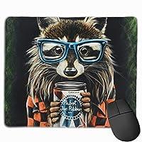 マウスパッド 洗熊プリント 光学式マウス対応 おしゃれ 滑り止め 防水 耐洗い表面 オフィス用 家庭用 30*25CM