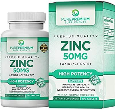 Premium Zinc Oxide/Citrate Supplement by PurePremium Supplements [100 Tablets, 50mg] | Supports Immune System & Reproductive Health | Antioxidant Properties & Increased Energy Production