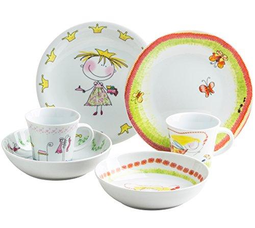 Kahla 32F259O76645C Kids Märchenprinzessin Blumenfee Kindergeschirr Geschirrset für Mädchen bunt rund 6-teilig Set Tasse Suppenteller Teller