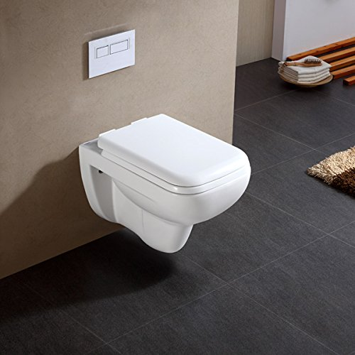 DOVEL Ceramic Glaze Wall Hung/Wall Mounted with Hydraulic Seat Cover (Jeta, White)