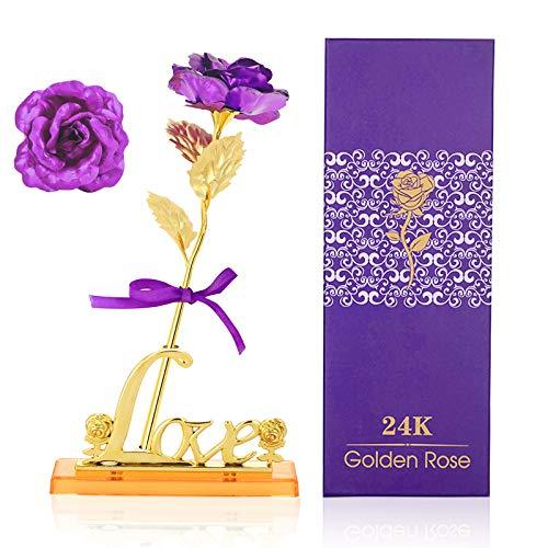 24 Karat Gold Rose Blume, vergoldete Rose Blume für Immer Blume getaucht echte Rose für Romantisches Geschenk Ideal für Freundin Frau Frauen am Valentinstag, Muttertag (Blattgold stieg, lila)