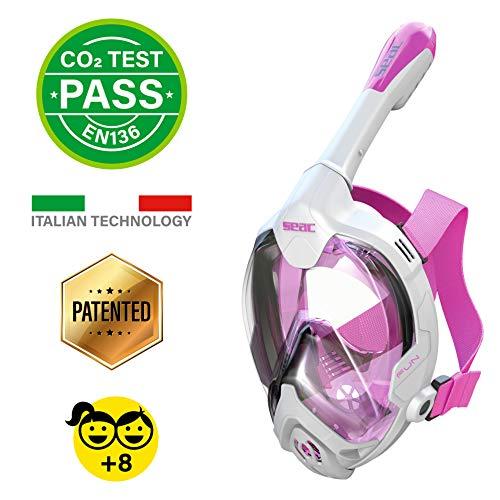 Seac Unisex-Youth Fun Vollgesichtsmaske Schnorchelmaske für Kinder 10+ und Erwachsene mit kleinen Gesichtern, Schnellspannschnallen, weiß/rosa, XS-S
