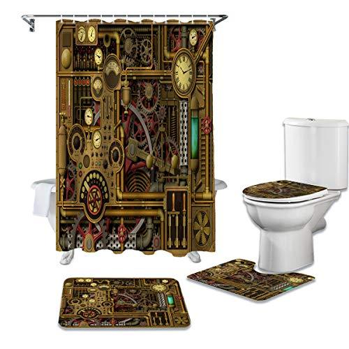 OneHoney 4-teiliges Duschvorhang-Set mit rutschfesten Teppichen, Era Steampunk & Gear Badezimmervorhänge, wasserdicht, Armaturenbretter & Instrumente Dekor Fußmatte, WC-Deckelbezug & Badematte