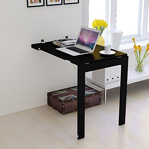 Table pliante murale Table pliante Tabel Drop-feuille Cuisine Table à manger Bureau Tenture murale Table d'appoint Noir ( taille : 90*60cm )